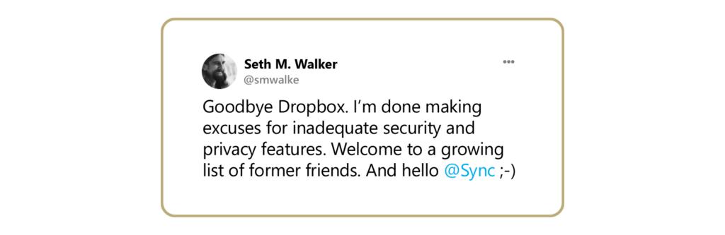 a tweet about Dropbox's poor security.