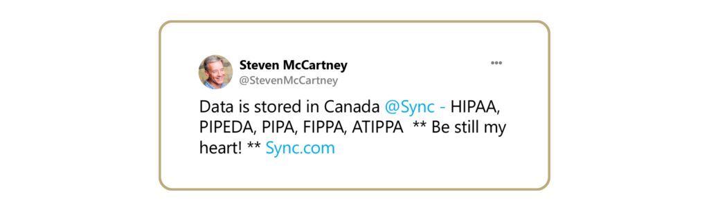 A happy tweet about Sync complying with Canada storage laws.