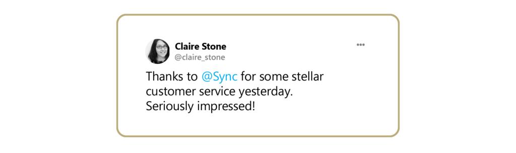 A tweet praising Sync's customer service.