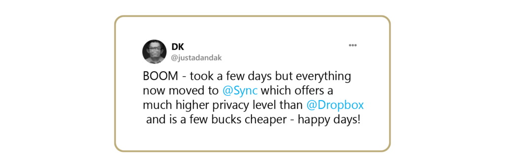 A tweet from someone who has made the switch to Sync and is happier.