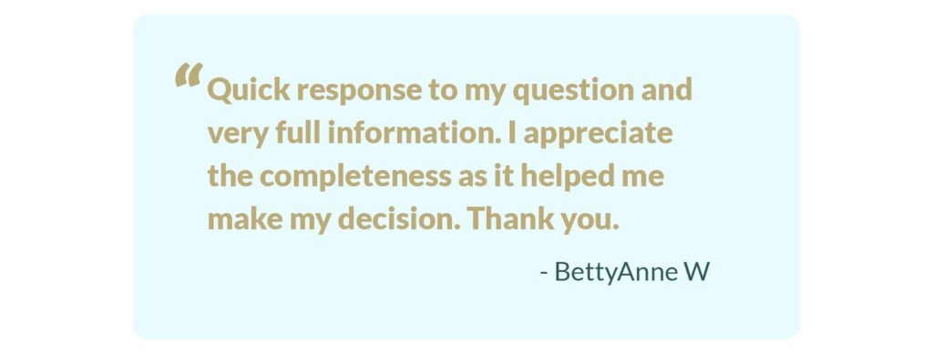 A testimonial from a Sync customer who got help.
