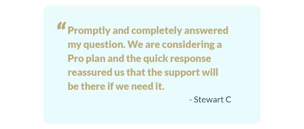 A support testimonial from a happy Sync customer.