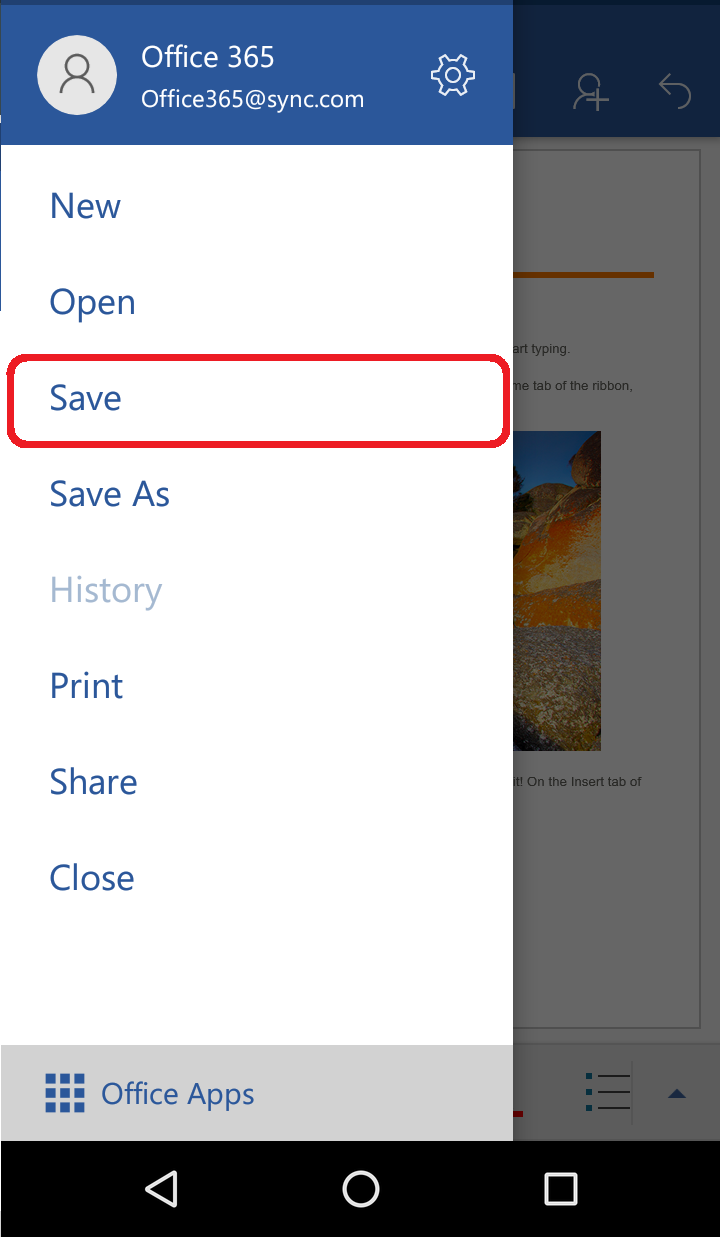 035935559f1e20 How do I save MS Word files to Sync from an Android device