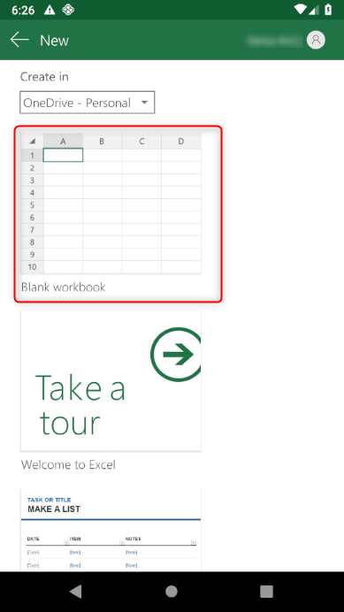 How do I save a new MS Excel file to Sync from an Android