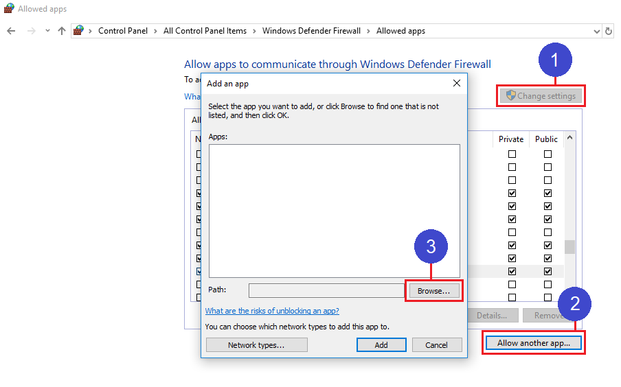 How do I stop Windows Defender Firewall from blocking Sync in