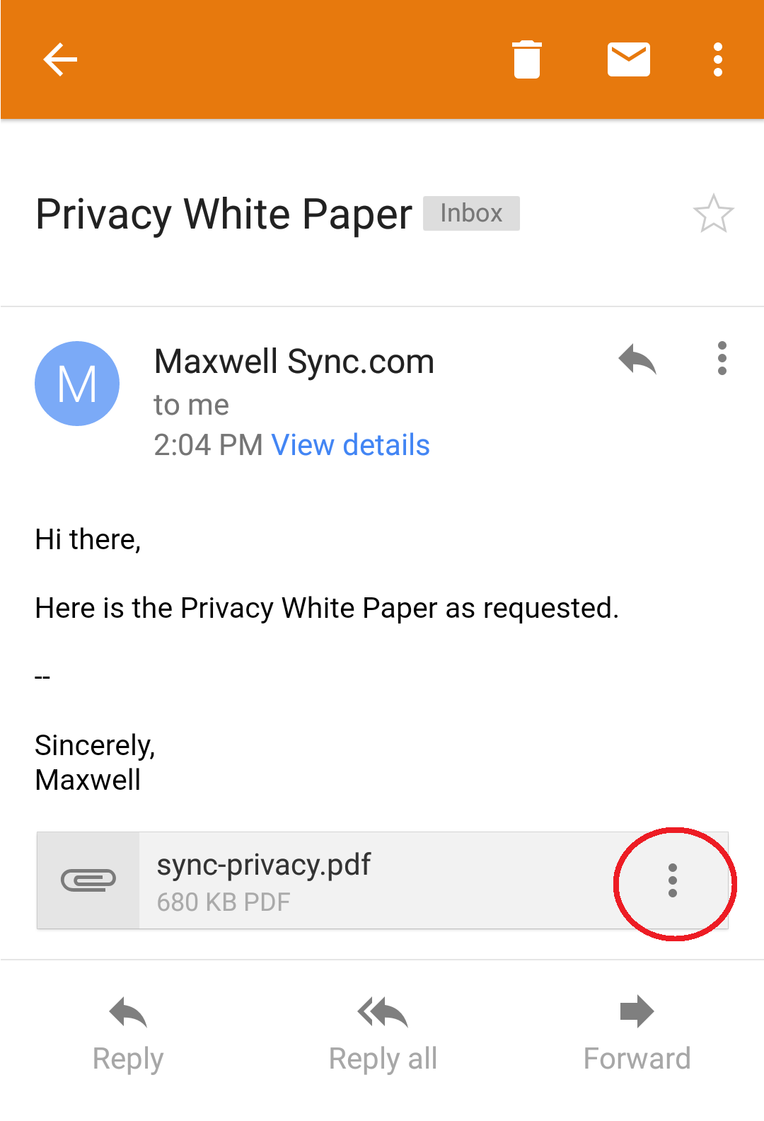 How do I save a file from my email to Sync on Android