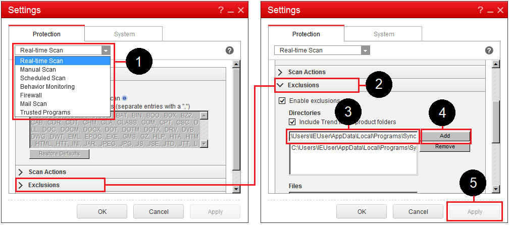 How do I allow Sync to work with Trend Micro OfficeScan?