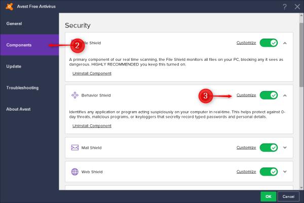 avast behavior shield settings